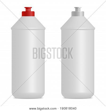 Dish washing liquid cylindrical bottle realistic mock up. Red and gray caps. Empty place for label design. 3D illustration for branding. Isolated on white background. Vector eps 10