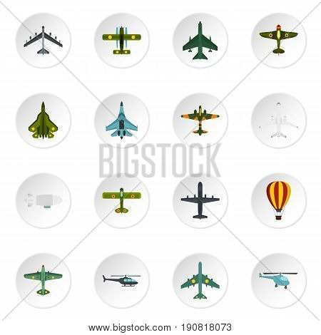 Aviation icons set. Flat illustration of 16 aviation vector icons set illustration