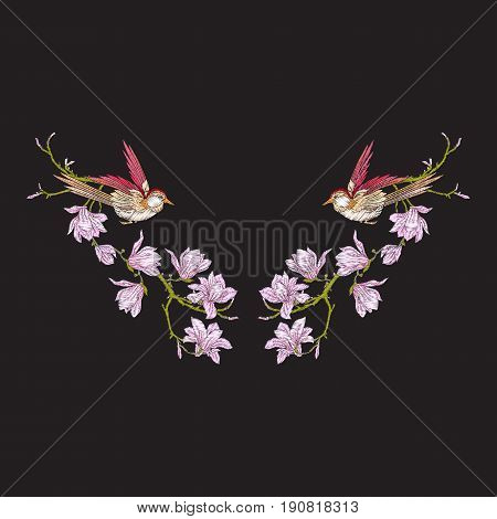 Embroidery neckline with flowers and swallow on black background. Stock line vector illustration.