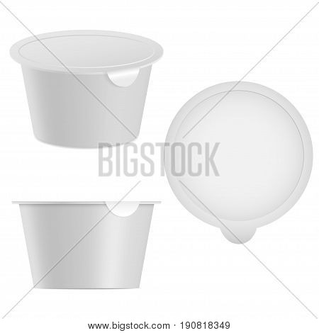 Realistic yogurt or cottage cheese, ice cream package mock up. Isolated on white background. Top and side view. 3D product illustration for branding. Vector eps 10.