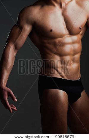 Sexy Man With Muscular Body In Underwear Pants