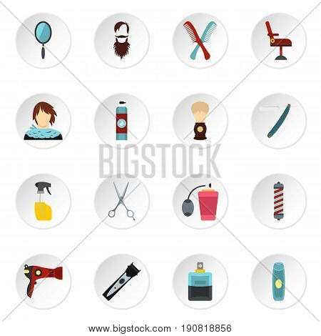 Hairdressing set icons in flat style isolated on white background