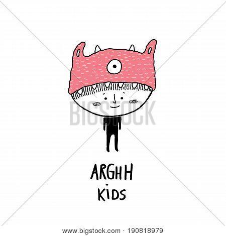 Arghh kidschild with a monster hat vector illustration