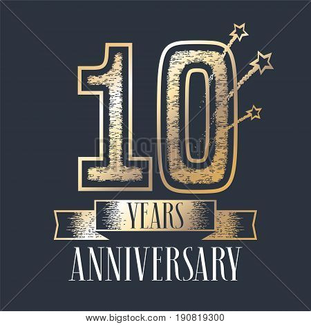 10 years anniversary vector icon logo. Graphic design element with ribbon and golden color and grunge texture number for 10th anniversary ceremony