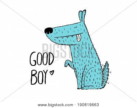 Good boy. Dog giving his paw hand drawn vector illustration
