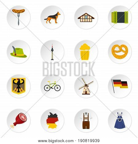 Germany set icons in flat style isolated on white background