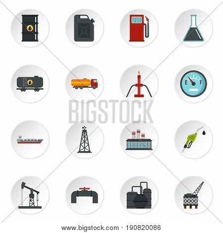 Oil industry items set icons in flat style isolated on white background