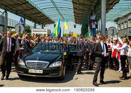Uzhhorod Ukraine - June 11 2017: Presidents of Ukraine Petro Poroshenko gets into the car after a symbolic ceremony on the Slovak-Ukrainian border on the occasion of the introduction of a visa-free regime between Ukraine and the Schengen countries.