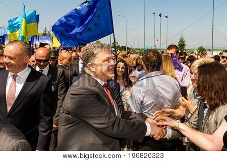 Uzhhorod Ukraine - June 11 2017: Ukrainian President Petro Poroshenko communicates with residents after a symbolic ceremony on the Slovak-Ukrainian border on the occasion of the introduction of a visa-free regime between Ukraine and the Schengen countries