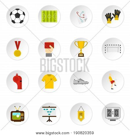 Soccer football icons set in flat style isolated vector icons set illustration