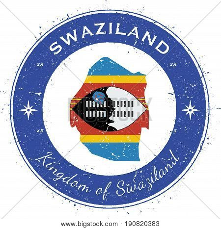 Swaziland Circular Patriotic Badge. Grunge Rubber Stamp With National Flag, Map And The Swaziland Wr