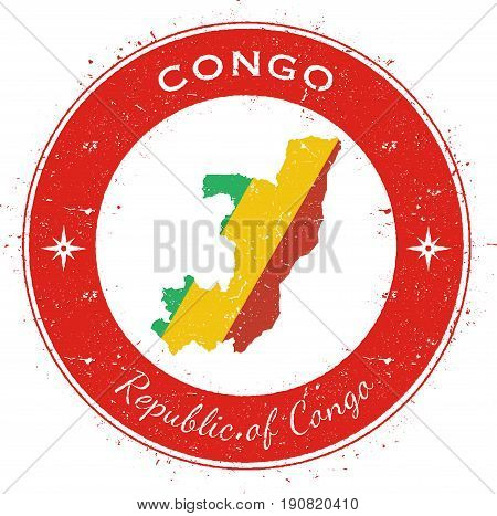 Congo Circular Patriotic Badge. Grunge Rubber Stamp With National Flag, Map And The Congo Written Al