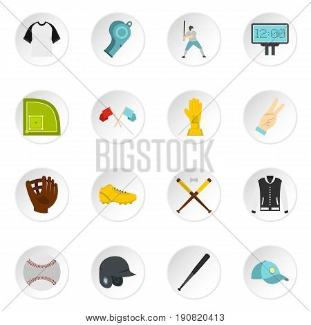 Baseball icons set in flat style isolated vector icons set illustration