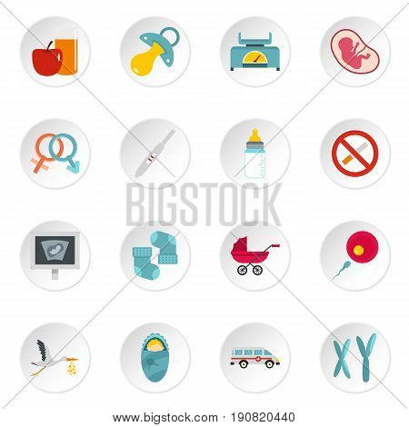 Pregnancy symbols icons set in flat style isolated vector icons set illustration