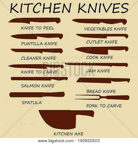 Meat cutting knives set. Poster Butcher diagram and scheme - Meat Knife. Set of butcher meat knives for butcher shop and design butcher themes. Vintage typographic hand-drawn. Vector illustration