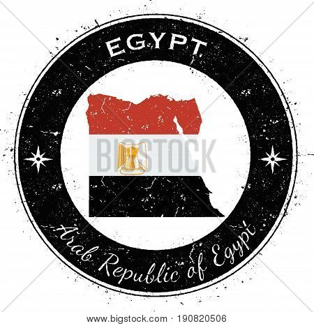 Egypt Circular Patriotic Badge. Grunge Rubber Stamp With National Flag, Map And The Egypt Written Al