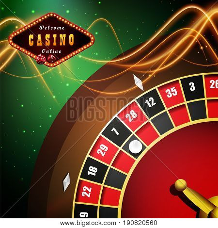 Internet casino marketing vector background with roulette. Spinning fortune wheel
