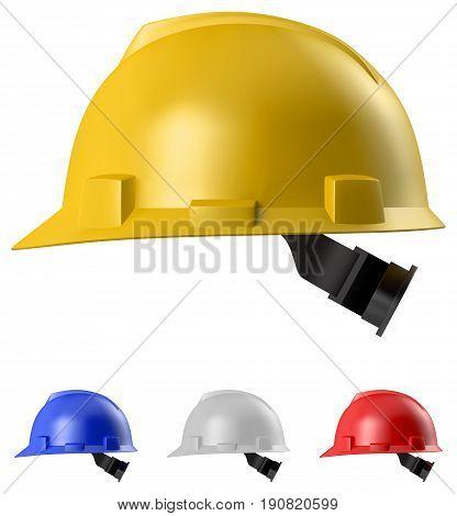 Safety helmet set isolated on white background