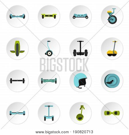 Balancing scooter icons set in flat style isolated vector icons set illustration