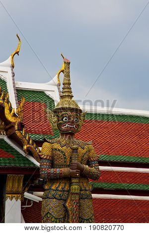 Thailand Asia    Bangkok Rain  Temple Abstract Warrior Demon