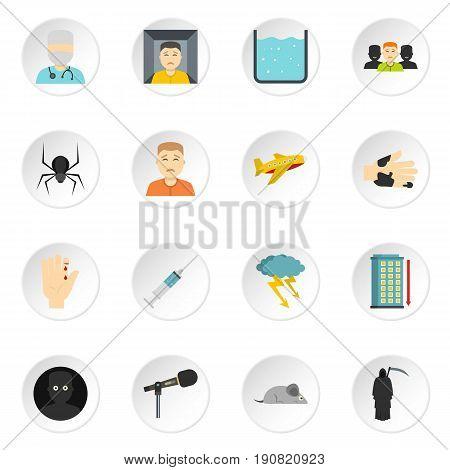Phobia symbols icons set in flat style isolated vector icons set illustration