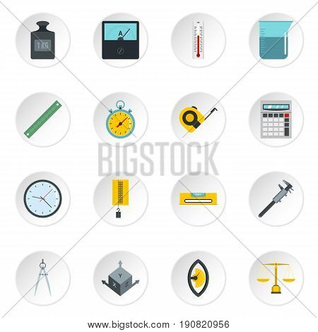 Measure precision icons set in flat style isolated vector icons set illustration