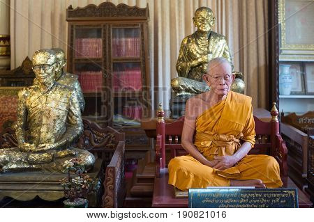 CHIANG MAI, THAILAND - FEBRUARY 6, 2016: Famous natural looking wax monk at Wat Phra Singh in Chiang Mai. The construction of this temple was began in 1345.