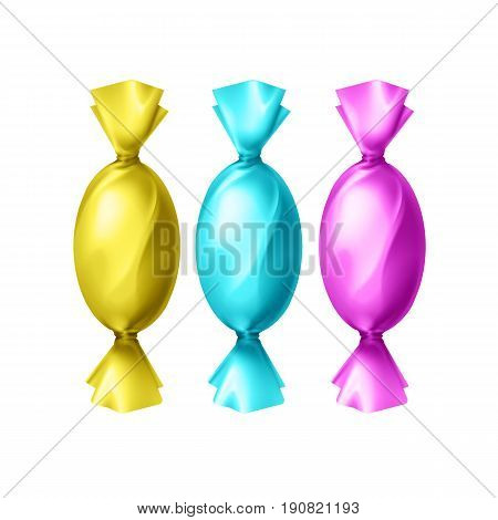 Vector candies in blank colorful yellow, cyan, magenta foil wrapper top view isolated on white background