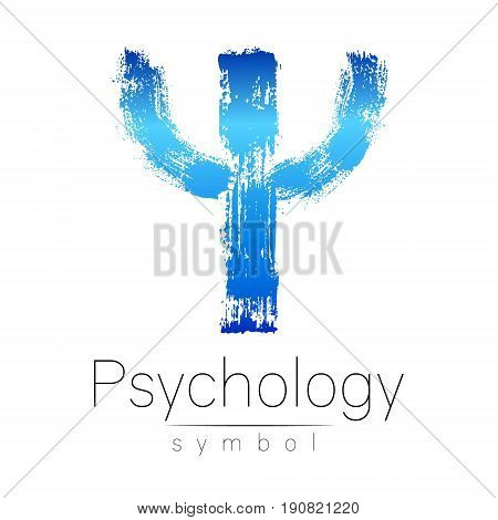 Modern logo of Psychology. Psi. Creative style. Logotype in vector. Design concept. Brand company. Blue color letter on white background. Symbol for web, print, card, flyer. Bright brush stroke