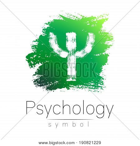 Modern logo of Psychology. Psi. Creative style. Logotype in vector. Design concept. Brand company. Green color letter on white background. Symbol for web, print, card, flyer. Bright brush stroke