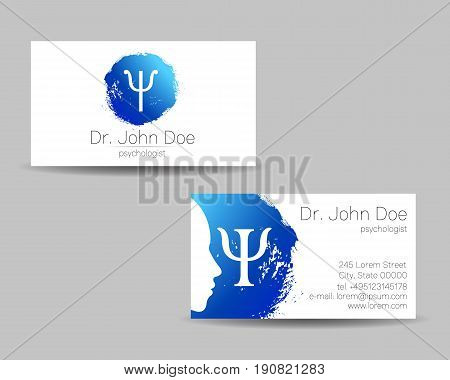 Psychology vector visit card. Modern logo. Creative style. Design concept. Brand company. Blue color isolated on gray background. Symbol for web, print. visiting personal set illustration