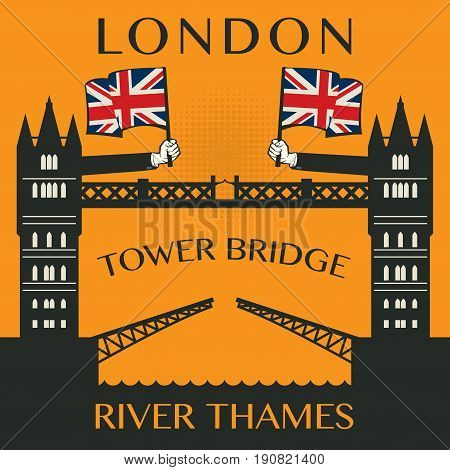 London Tower bridge poster or label vector illustration