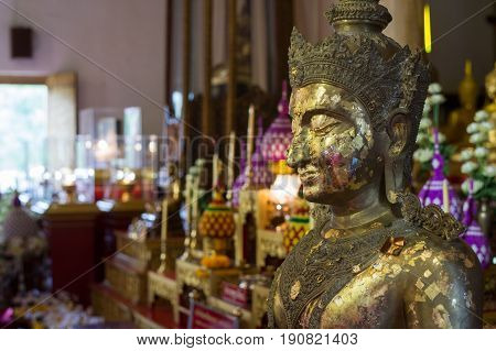 CHIANG MAI, THAILAND - FEBRUARY 6, 2016:Buddha image at Wat Phra Singh, which is one of the most famous temples in Chiang Mai. The construction was began in 1345 .