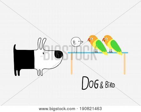 Dog & Bird and Lovebirds vector illustration