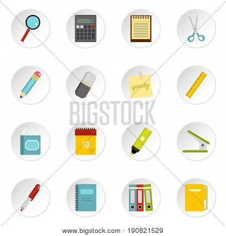 Stationery symbols icons set in flat style isolated vector icons set illustration