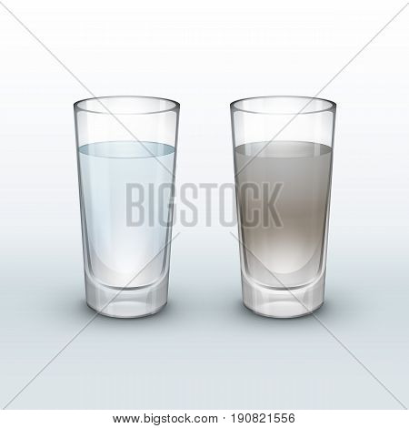 Vector clean and dirty water in glass isolated on light background