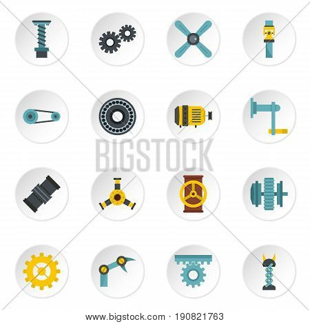 Techno mechanisms kit icons set in flat style isolated vector icons set illustration