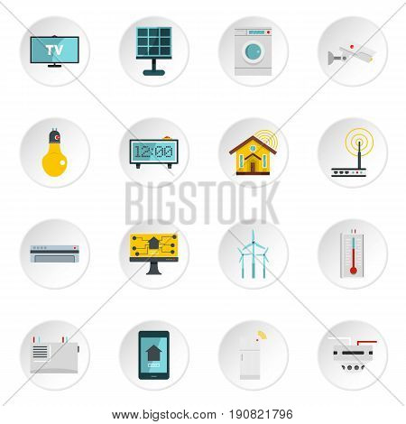 Smart home house icons set in flat style isolated vector icons set illustration