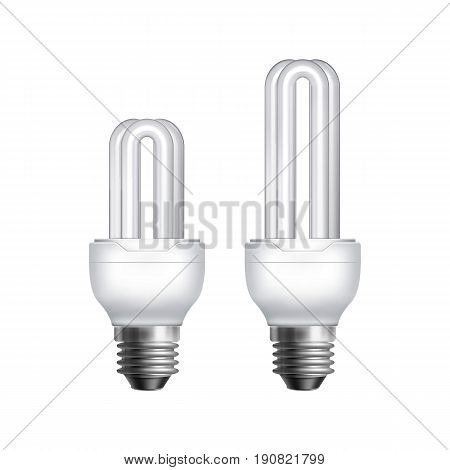 Two vector compact fluorescent energy saving lamps on white background