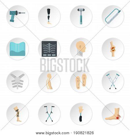 Orthopedics prosthetics icons set in flat style isolated vector icons set illustration