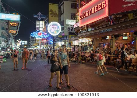 BANGKOK, THAILAND - FEBRUARY 23, 2016 : Khao San road by night  in Bangkok. This is a world famous backpacker street and a major tourist attraction in Thailand.
