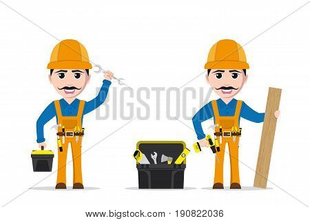 picture of a worker man with tools and toolbox isolated on white background