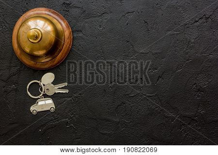 Hotel Reception Desk With Ring And Keys Dark Table Background Top View Mockup