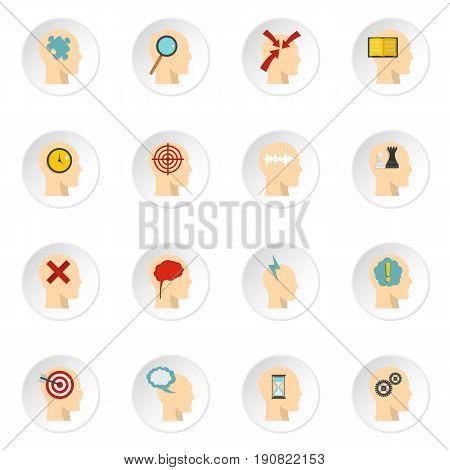 Head logos icons set in flat style isolated vector icons set illustration