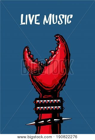 Rock music fan hand. Poster with crab claw. Heavy metall. Tattoo style.