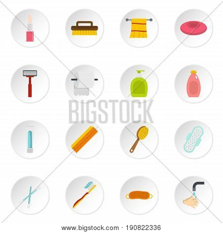 Hygiene tools icons set in flat style isolated vector icons set illustration