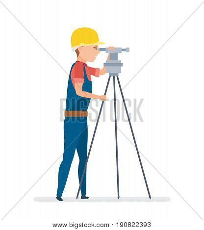 Cadastral engineer conducting land management expertise, conducting land markings. Vector illustration isolated on white background in cartoon style.