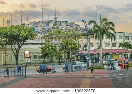GUAYAQUIL, ECUADOR, MAY - 2016 - Long distant view of Cerro Santa Ana hill from malecon 2000 in Guayaquil Ecuador.