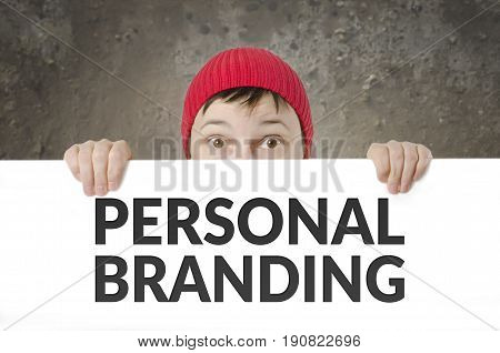 Surprised Female with Red Cap holds Personal Branding Card.