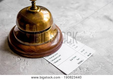 Ring And Receipt Bill For Payment By Credit Card On Stone Table Background